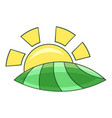 morning sunrise icon cartoon style vector image