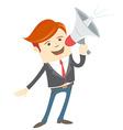 Office man megaphone shouting vector image vector image