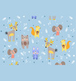 pattern forest animals on cool blue background vector image vector image