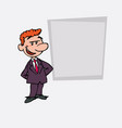 quiet and relaxed red hair businessman is showing vector image vector image
