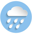 raining cloud icon paper style vector image vector image