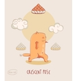 Red Yoga Cat in Crescent Pose vector image vector image