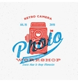 Retro Camera Photo Workshop Label or Logo Template vector image vector image