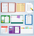 set of agenda notebooks vector image vector image
