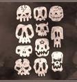 set of cartoon halloween skull halloween stickers vector image vector image