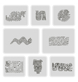 set of monochrome icons with American Indians vector image vector image
