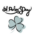 st patricks day lettering with shamrock vector image vector image