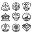vintage monochrome mystic labels set vector image