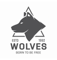Vintage wolf logo or label vector image
