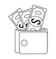 wallet money with bills vector image vector image