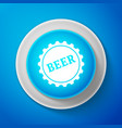 white bottle cap with beer word icon vector image vector image