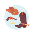 wild west elements set cowboy accessories vector image
