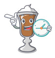 with clock irish coffee character cartoon vector image