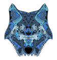 wolf head zentangle stylized vector image