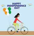 woman riding bicycle with indian tricolor vector image vector image
