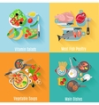 Home cooking 4 flat icons square banner vector image