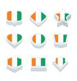 cote divoire flags icons and button set nine vector image