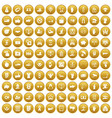 100 hand icons set gold vector image vector image