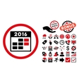 2016 Month Calendar Flat Icon with Bonus vector image