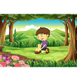 A smiling young boy in the middle of the forest vector image