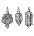 arabic lantern lamps with arab ornaments sketch vector image vector image