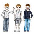 beautiful little boys cute children standing in vector image