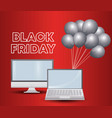 black friday label with laptop and monitor vector image vector image