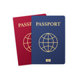 blue and red passport isolated on white vector image