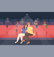 boyfriend and girlfriend sitting in stereoscopic vector image vector image