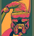 bull dog with santa claus hat vector image