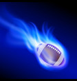 burning football on blue fire vector image vector image