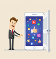 business man show screen of smartphone with icons vector image vector image