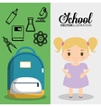 cartoon girl bag chemistry school pupil flyier vector image