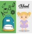 cartoon girl bag chemistry school pupil flyier vector image vector image