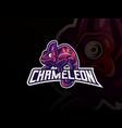 chameleon mascot sport logo design vector image