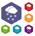 Cloud and snowflakes icons set