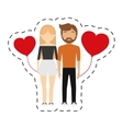 couple relationship red hearts balloon vector image
