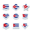 cuba flags icons and button set nine styles vector image vector image