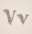 Decorated letter v vector image