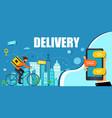 delivery online order blue banner courier goes vector image