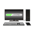 desktop computer with loading screen vector image vector image