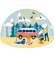 family weekend picnic in nature in minimalist vector image vector image