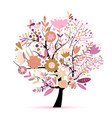 floral spring tree sketch for your design vector image vector image