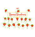 funny cartoon dynamic strawberry set flat design vector image