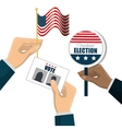 hand hold flag ballot voting usa election graphic vector image