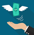 Hand with money fly vector image vector image