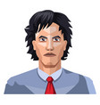 handsome guy with long black hair on white vector image vector image