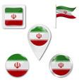 iran flag button on white vector image vector image