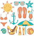 items related to beach vector image