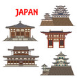 japanese temples shrines pagodas japan castles vector image vector image